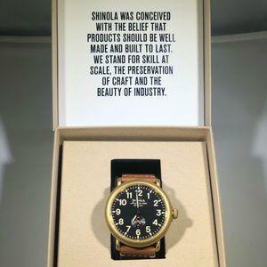 Shinola Runwell Black Dial Tan Leather Men's Watch
